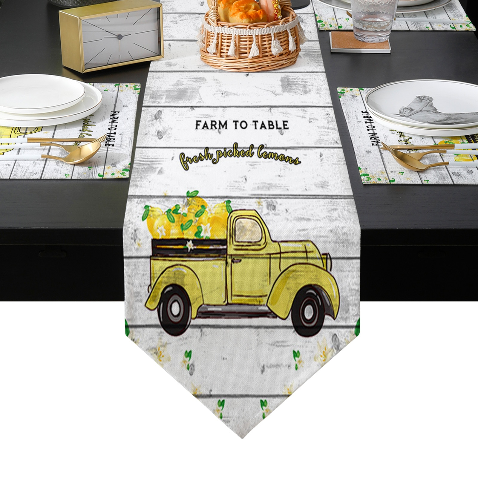 البلد الأمريكي نمط الليمون شاحنة طاولة من الخشب عداء المفارش مجموعة البلد الزفاف الجدول الديكور للمطبخ المنزل الطعام