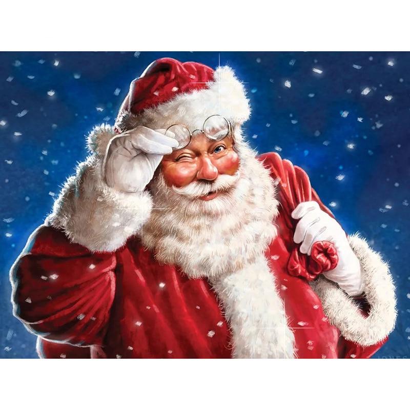 Santa Claus pintura de diamantes Plaza completa nueva llegada diamante bordado mosaico diamantes de imitación cuadro de punto de cruz Navidad