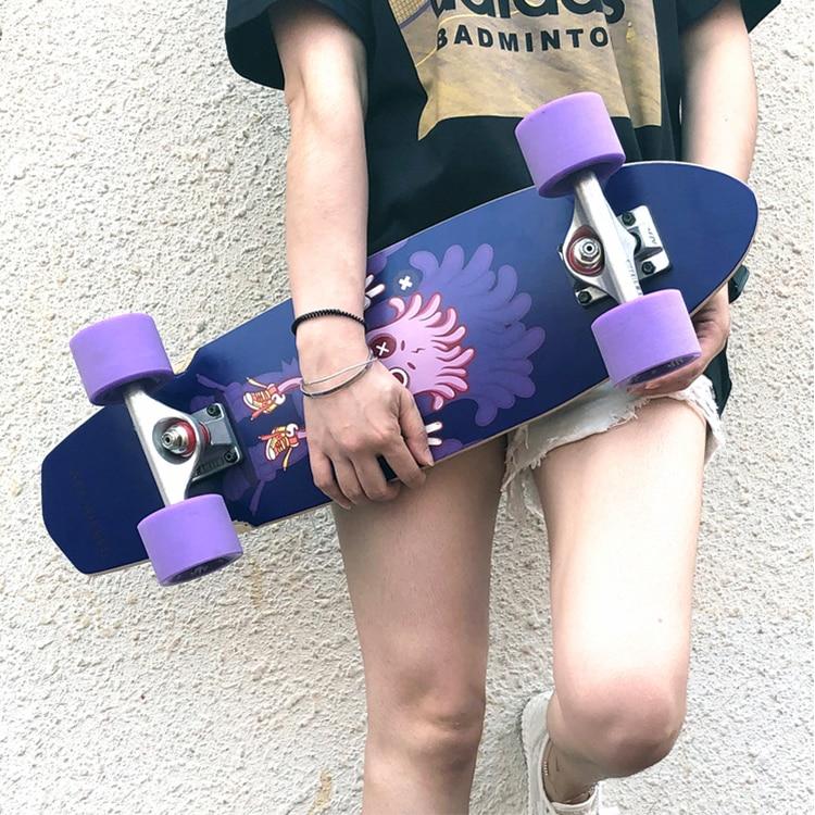 Детский скейтборд для начинающих, скейтборд с аниме-дизайном, скейтборд, прогулочный скейтборд, палуба для взрослых, доска для катания на ко...