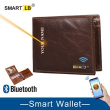 Smart Wallet GPS Record Wallet For Men Genuine Leather Wallets Bluetooth Short Credit Card Holders M