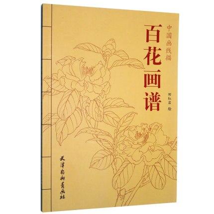 Pintura chinesa cem flores linha desenho coleção livro de arte adulto livro para colorir