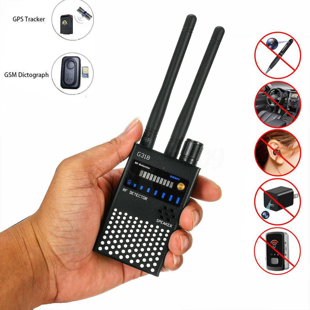 Anti Spy RF Bug Detector Wireless signal detection Scanner Anti Wiretapping Detector Camera Len GPS Finder Gsm Tracker len deighton spy line