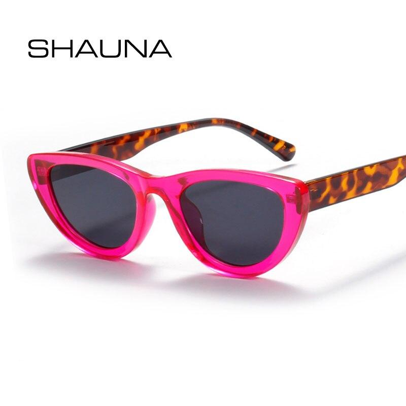 Женские и мужские солнцезащитные очки SHAUNA, маленькие очки кошачий глаз в стиле ретро с защитой UV400