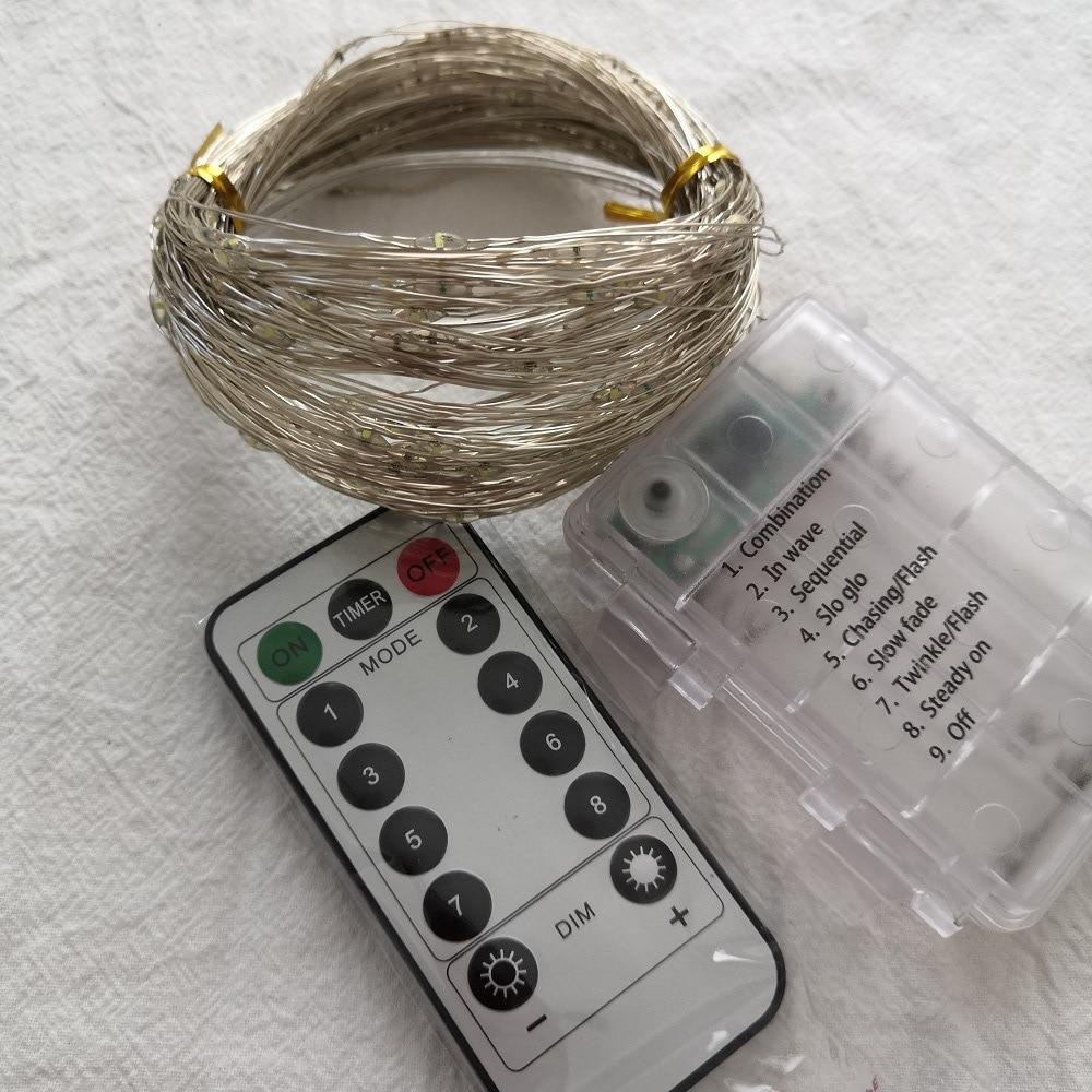 Lámpara con alambre de cobre cadena 10 M 100 lámpara 8-patrón a prueba de agua caja de batería de Control remoto LED lámpara con alambre de cobre cadena patio Chr