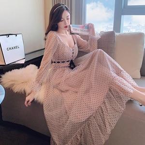 Dot Print Mesh Long Maxi Dress Women Square Collar Pink Party Dress Lace Up Flare Sleeve Sweet Runway Dress High Waist 2021 B775