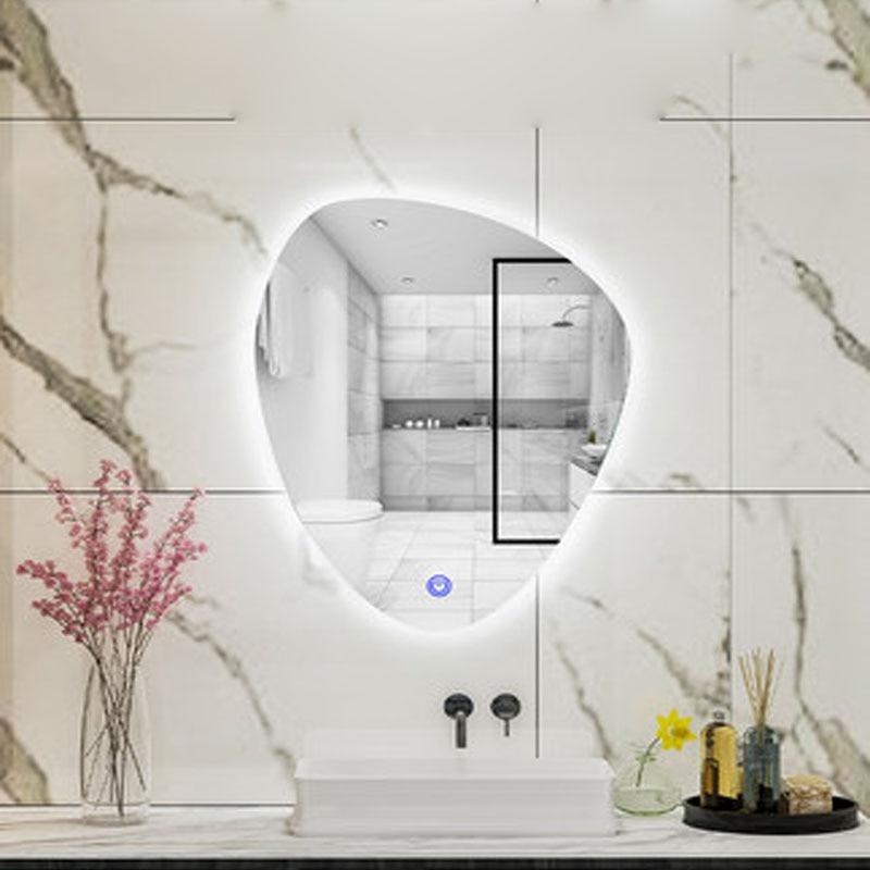 مصباح حمام ذكي على شكل قطرة ماء ، مرآة بدون إطار مع شاشة تعمل باللمس ، مصباح حائط معلق