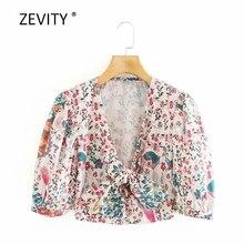 Zevity-chemisier kimono pour femmes, imprimé floral tropical, nœud attaché, col en v, manches bouffantes, chemise chic, LS6817, 2020