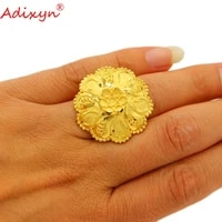 adixyn gold round finger rings for women men 24k gold color indian jewelry dubai arab accessories n103119