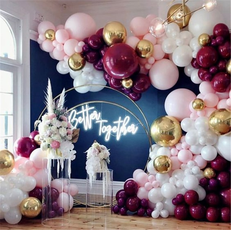 Wedding arch Balloons Pink Gold Confetti Balloons Garland Burgundy Party Decorations Burgundy and Gold Wedding Decorations