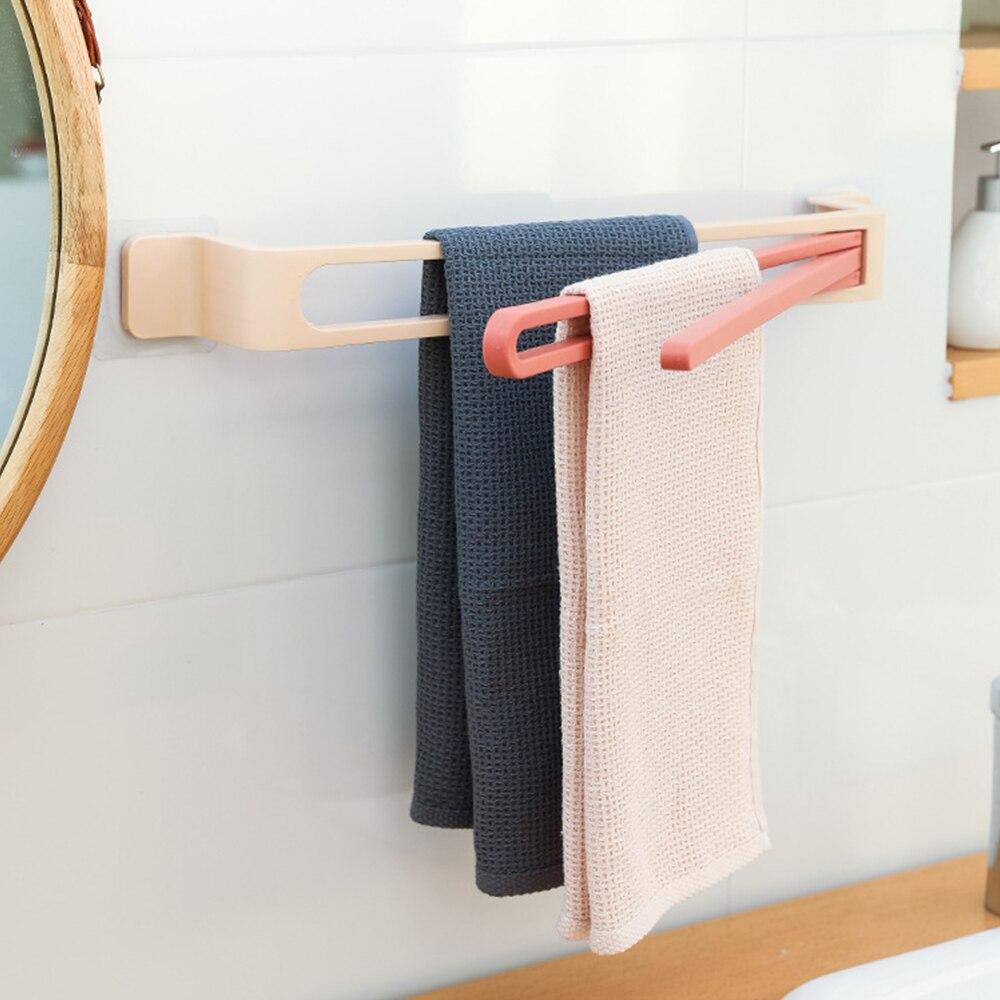 Barra de toalha do banheiro prateleira 3 camada cozinha pendurado gancho 3 camada toalete accroche torchon mural 3 camada à prova dwaterproof água