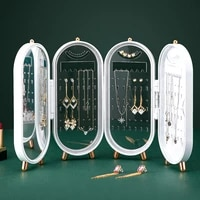 jewelry storage box earrings display stand bracelet necklace organizer foldable portable plastic 4 doors 240 holes large