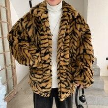 Piel de imitación de grano de tigre hombres patrón de tigre Fleece Fur Fluffy Coat Jacket Jumper prendas de vestir de gran tamaño caliente prendas de vestir chaquetas hombre