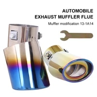 universal burnt multicolor car exhaust pipe muffler burnt stainless steel exhaust tube 2 36 outlet end pipe car accessories