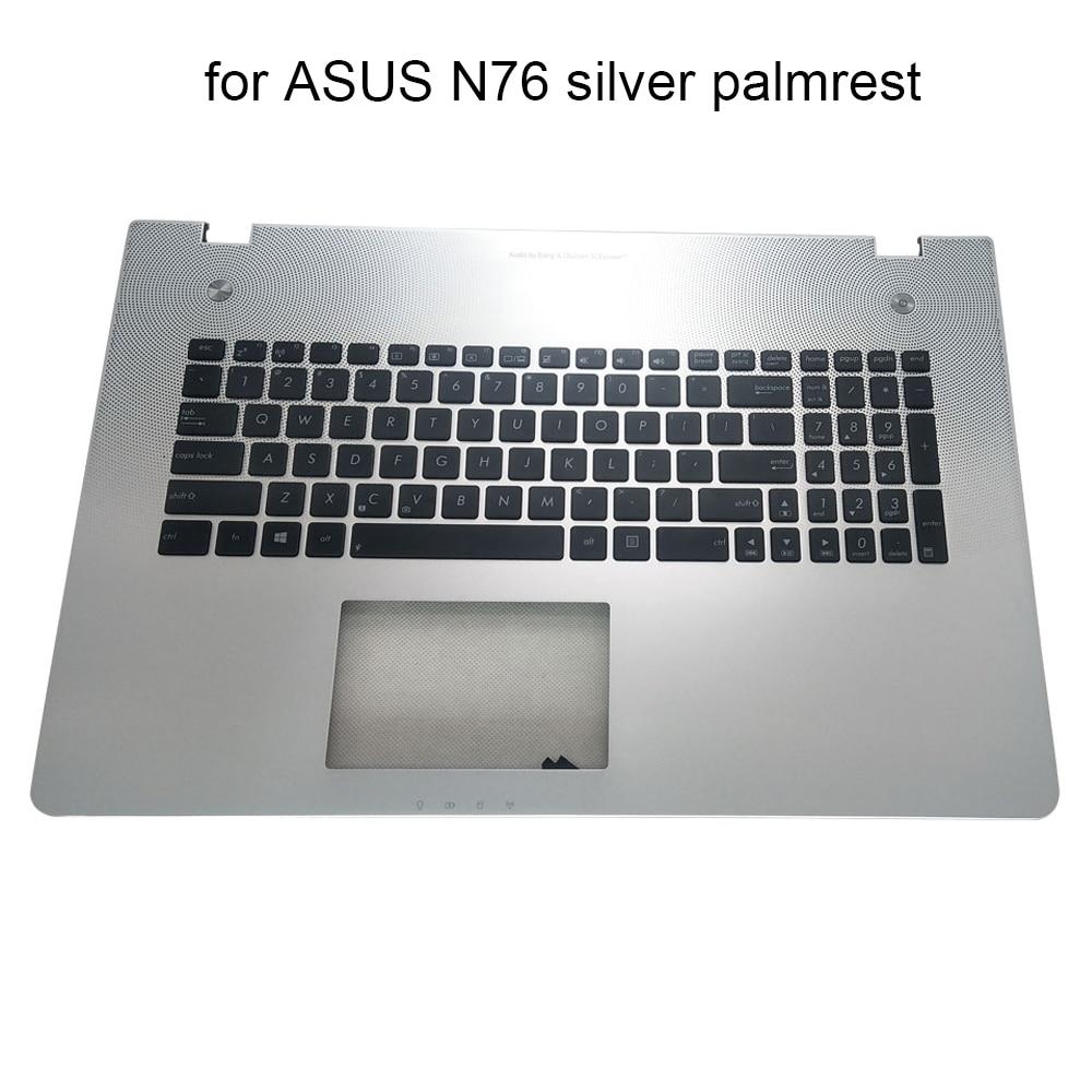 لوحة مفاتيح الكمبيوتر المحمول الإنجليزية ل Asus N76 N76VB N76VJ N76VM N76VZ N76V الولايات المتحدة استبدال لوحات المفاتيح الفضة C غطاء Palmrest 13N0-MHA0K11