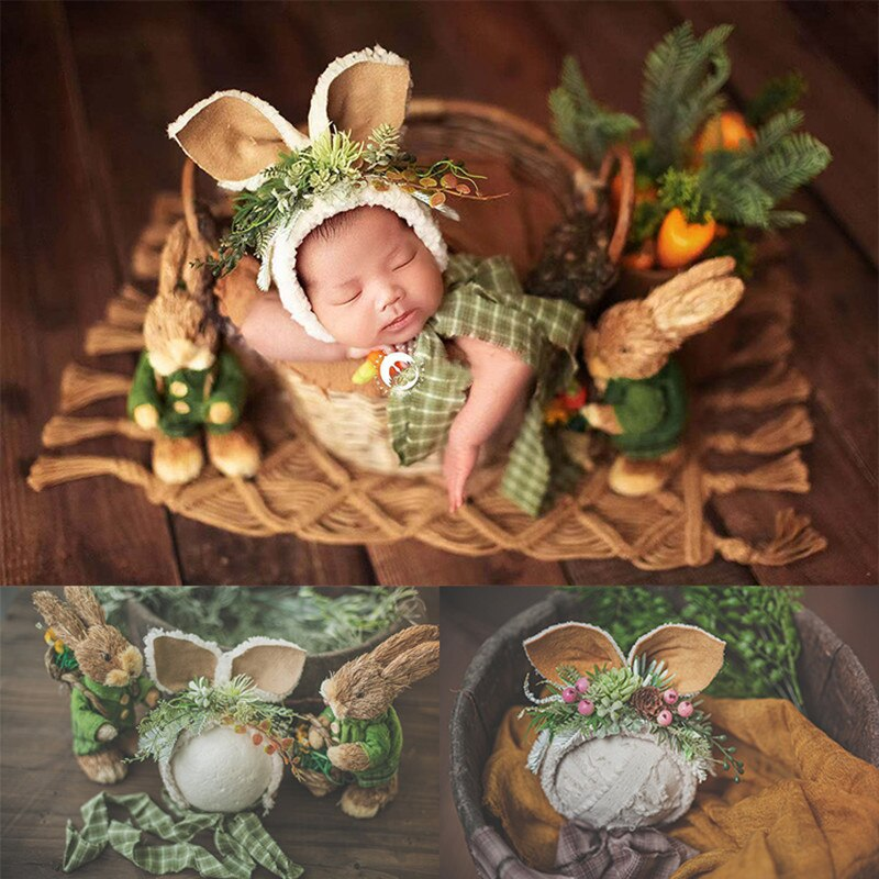 Newborn Photography Props Mori Straw Rabbit Matching Small Rabbit Green Forest Theme Hat Multi-color Full-moon Baby Big Ear Hat