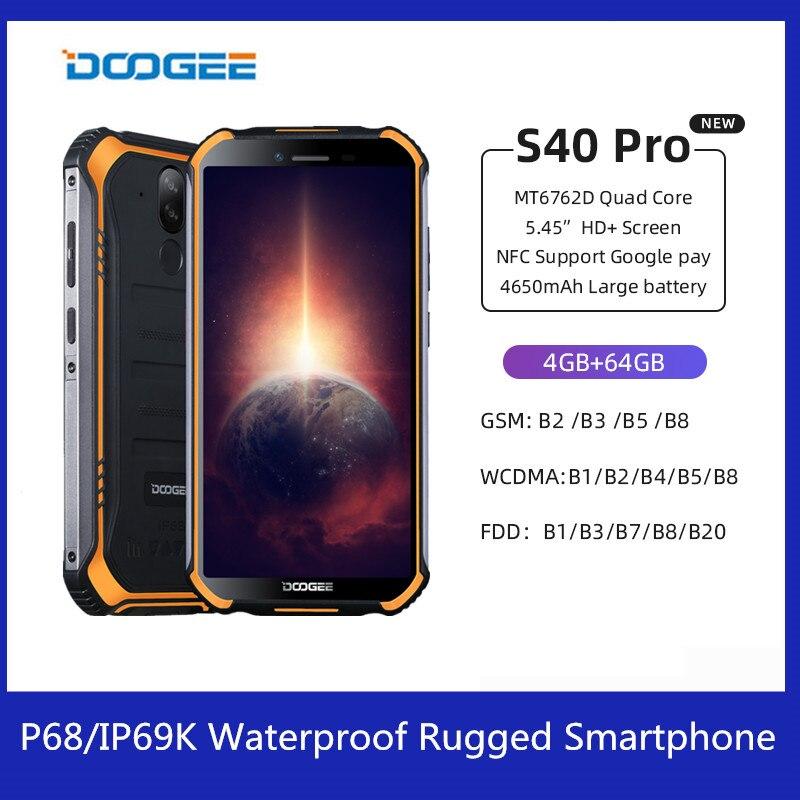 DOOGEE S40 Pro Android 10 IP68/IP69K Водонепроницаемый прочный смартфон 4G 6 Octa Core 5,45 дюйм 13MP Al камеры NFC LTE мобильный телефон
