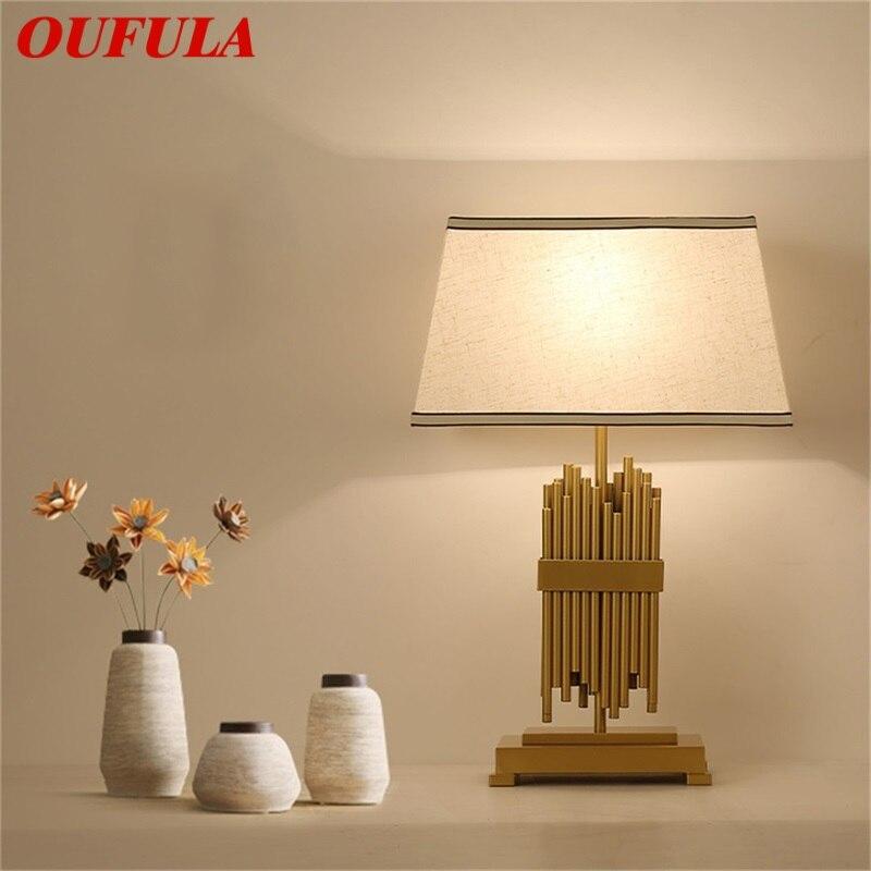 OUFULA LED الجدول مصباح الحديثة تصميم مكتب ضوء نسيج فاخر ديكور المنزل لغرفة النوم غرفة المعيشة الممر