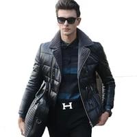 genuine leather jacket sheepskin down jackets winter jacket men real lamb fur collar coat warm outwear veste homme yr0012 y1593