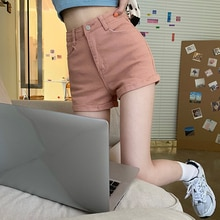 Summer Fashion High Waist Slim Rolled Denim Shorts Female Skinny Hot Pants Women's Trousers Sexy Sho