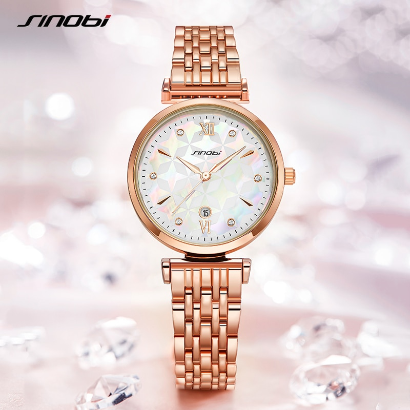 Sinobi Brand Luxury Elegant Bracelet Women Watch Rosegold Wristwatch Gift for Original Design Fashion Reloj Mujer