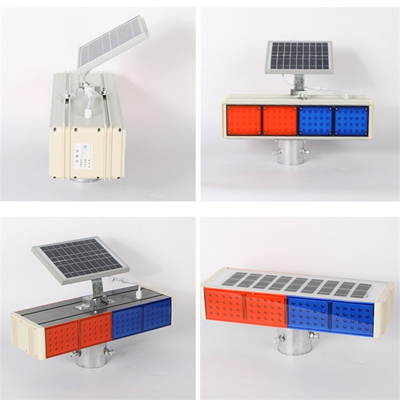 BROTHER Solar Warning Lights Aluminum LED Strobe Flashing Light  Double Side Red And Blue Signal light enlarge