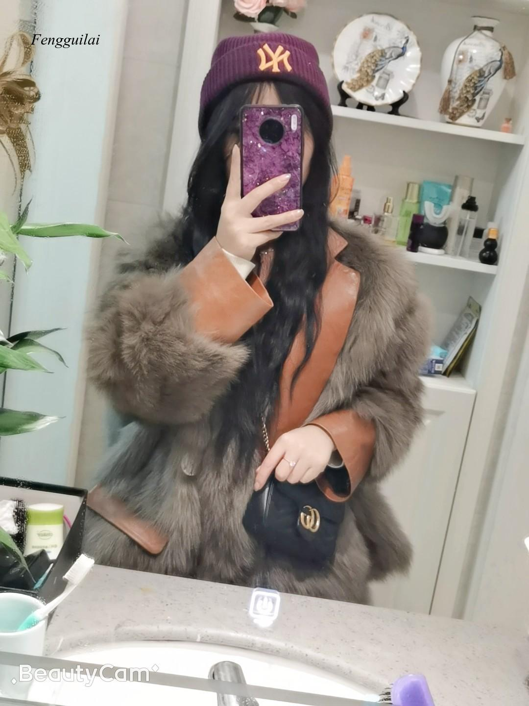 Pu Leather Stitching Fake Fur Loose 2020 Winter New Queen Style Coat for Women enlarge
