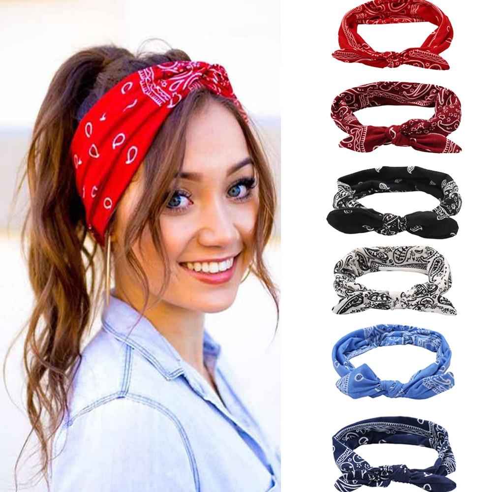 17km boêmio arco elástico faixas de cabelo impressão floral headbands meninas coreano arco cruz turbante bandanas cabeça envoltório acessórios de cabelo