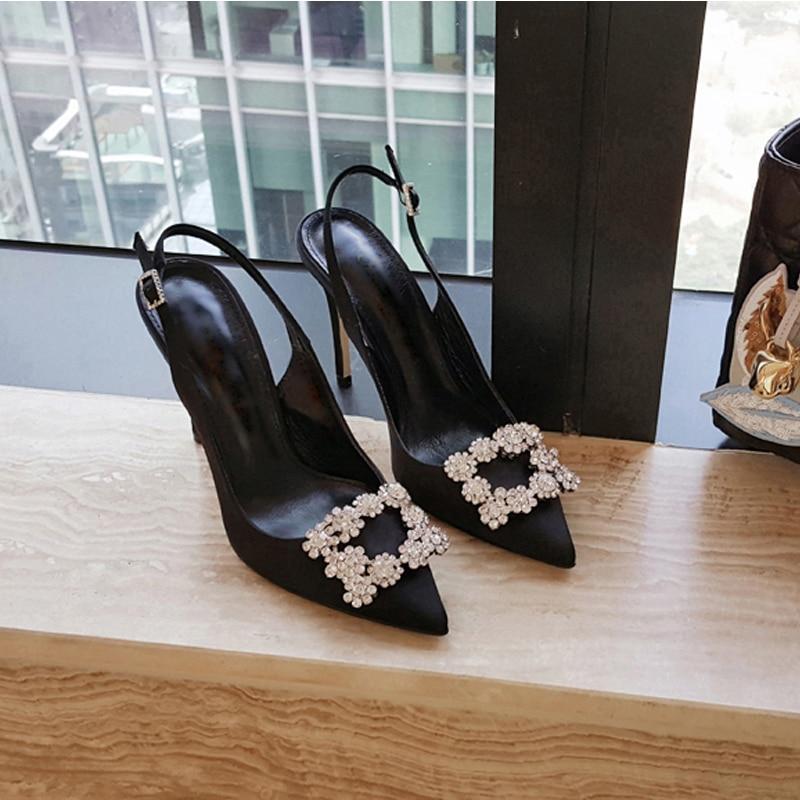 حذاء نسائي بكعب عالٍ من Baotou ، حذاء نسائي بكعب عالٍ ، بأحجار الراين الحمراء ، مثير ، مجموعة صيف 2020 الجديدة