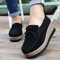 2021 spring and autumn womens platform shoes leather suede plush sneakers tassel loafers moccasins womens shoes