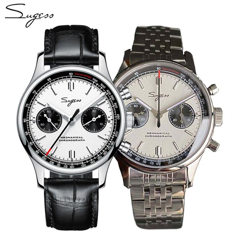 SUGESS Chronograph st1901 Sapphire 40MM Watches Mens 2020 Mechanical 1963 Pilot Panda Swan Neck Move