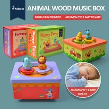 Caja de música de madera Mideer, caja de música giratoria de madera, Juguete musical educativo, regalo de cumpleaños