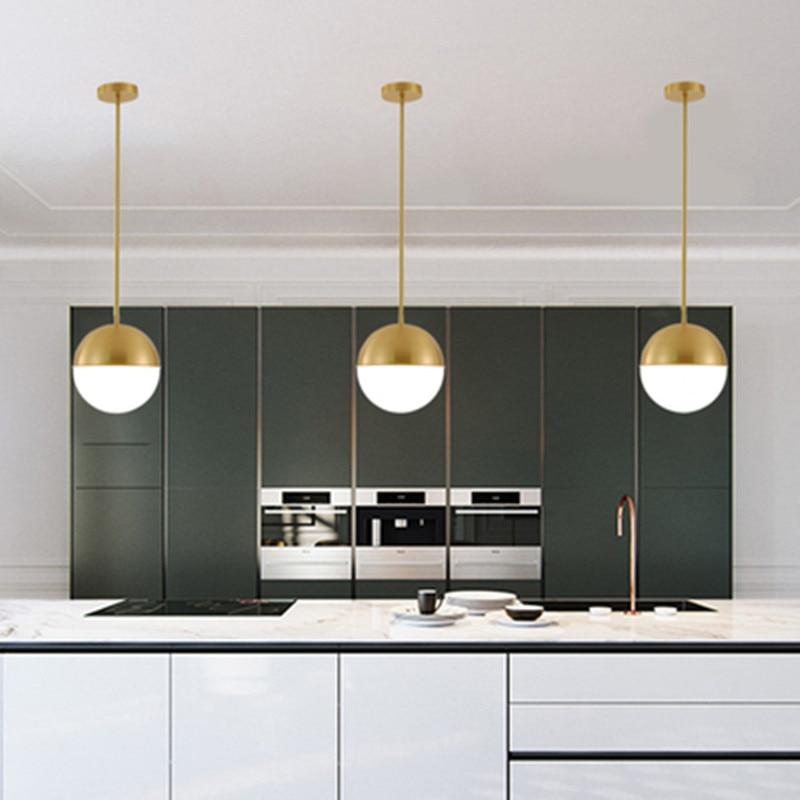 Brass Ball Pendant Light Copper Bedside Pendant Lamp Glass Ball Dining Room Suspension Loft Lamp Kitchen Island Lamp