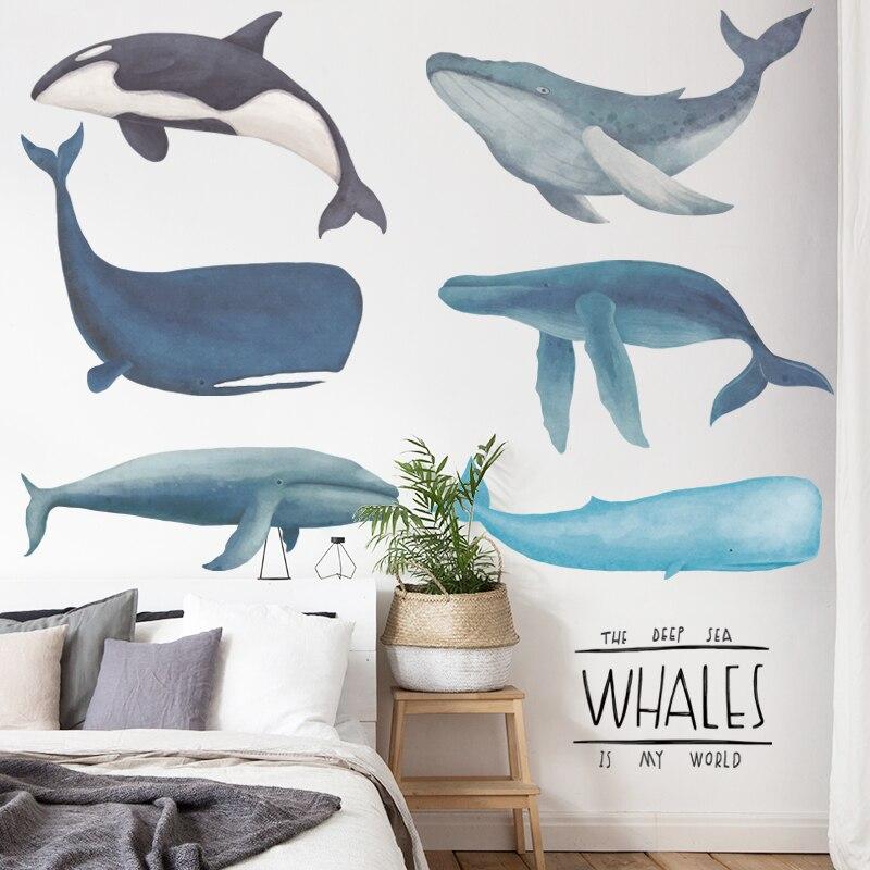 Креативная Наклейка на стену с Китом, украшение для комнаты подростка, декор для комнаты для мальчиков и девочек, эстетическая Настенная На...