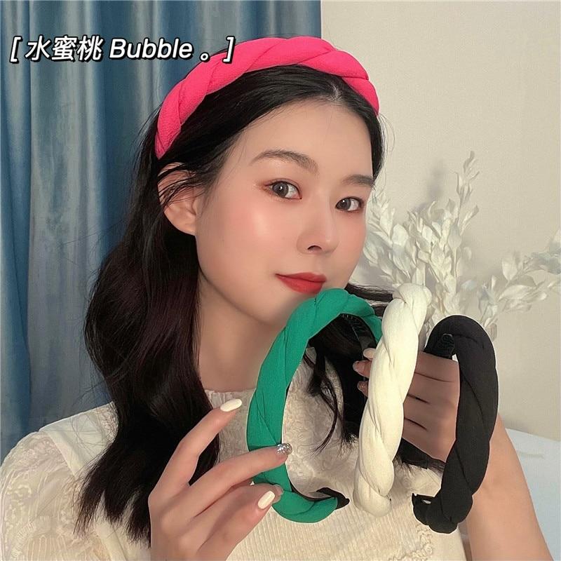 Fashion Solid Color Satin Hair Accessories Wide Weaving Hairbands Braided Headband Hair Hoop Woman H