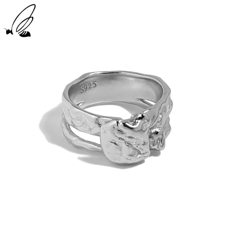 S'STEEL Irregular Concave And Convex Surface Design Adjustable Rings 925 Sterling Silver Gifts For W