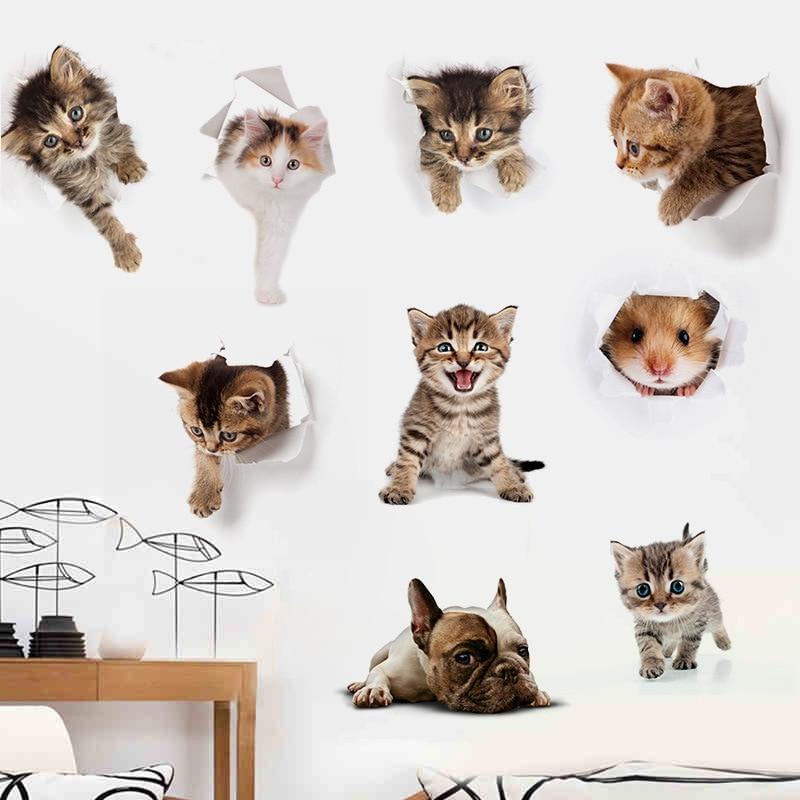Cute 3D Kitten Toilet Paste Environmental Protection Bedroom Living Room Decoration Waterproof Combination Cute Cat Wall Sticker