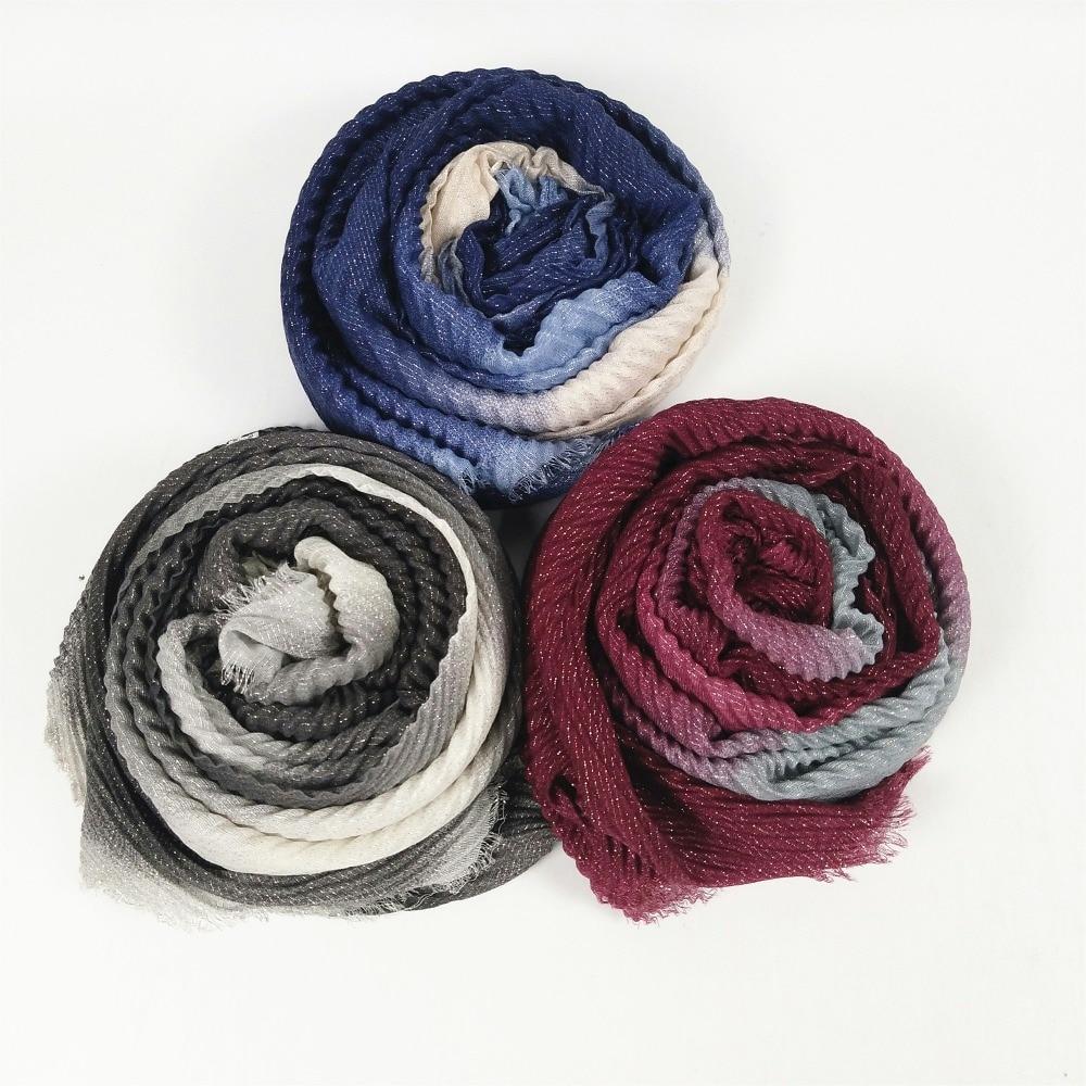 D3 10 Uds arruga hijab bufandas de mujer ombre glitter dama chal con brillo crumple diadema de 1