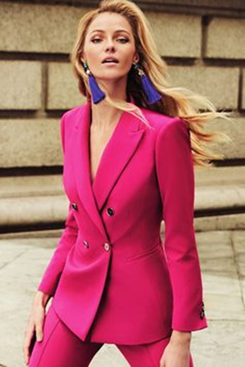 Red Buttons Fly Female Women's Business Tuxedos Lady Slim Fit Double Breasted Casual 2 Pieces Blazer Pants Daily Dress