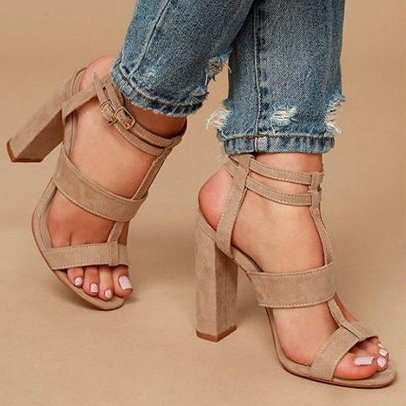 Frauen Sandalen Block Heels Hohl Sandalen Knöchel Schnalle High Heel Schuhe Frauen Rom Schuhe Plus Größe 34-43 zapatos De Mujer
