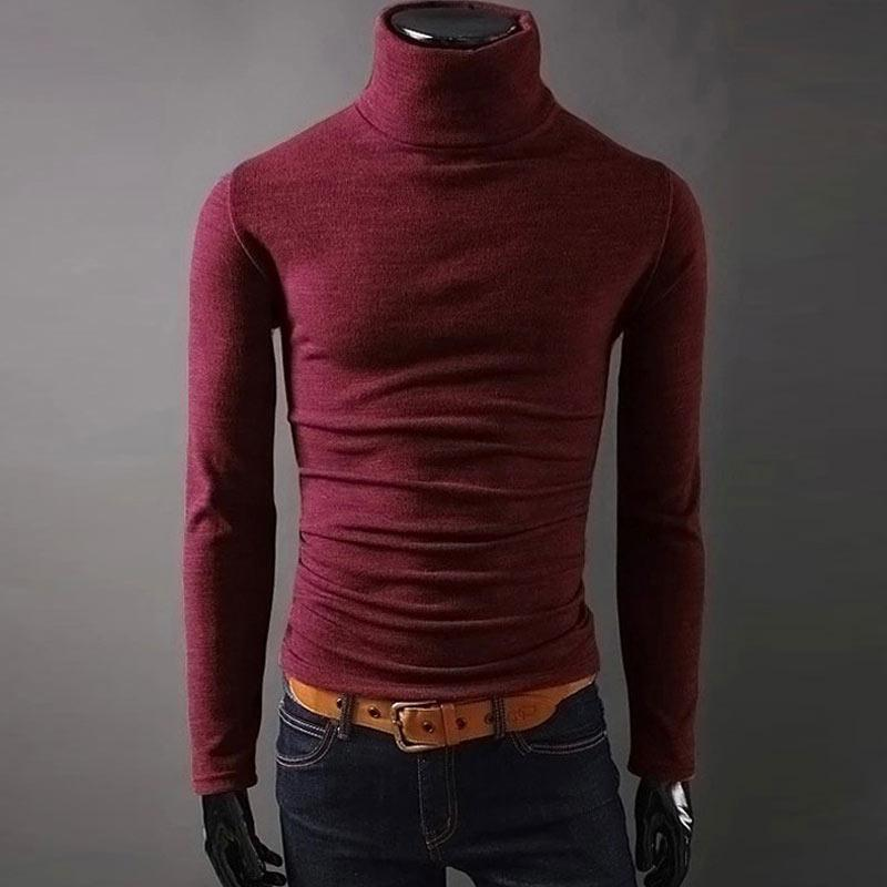 2020 New Autumn Mens Sweaters Casual fashion Male turtleneck Man's Black Solid Knitwear Slim Fit Brand Clothing Sweater