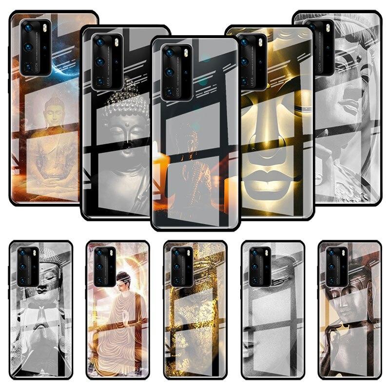 Budda szkło Case dla Huawei P20 P40 Lite E P30 Pro P inteligentny 2019 Mate 10 20 X Stalinite telefon pokrywa Capas