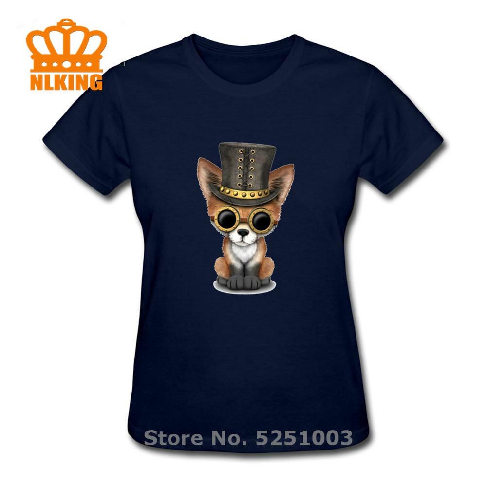 Camiseta de manga corta de verano Kawaii para mujer, camisetas de moda con animales en 3D de algodón de Shiva The God, Tops Steampunk para bebé, camiseta divertida con cachorro de zorro rojo