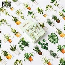 45pcs Kawaii Green Oxygen Life Washi Tape Adhesive Tape Practical Shine Sticker Scrapbooking Sticker Label Masking Tape