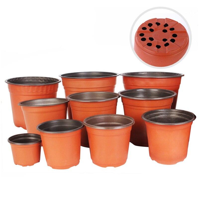 10pcs Soft plastic flower pots Two-color Durable seedling tray nursery succulent plant pot Container for Home Garden Decoration