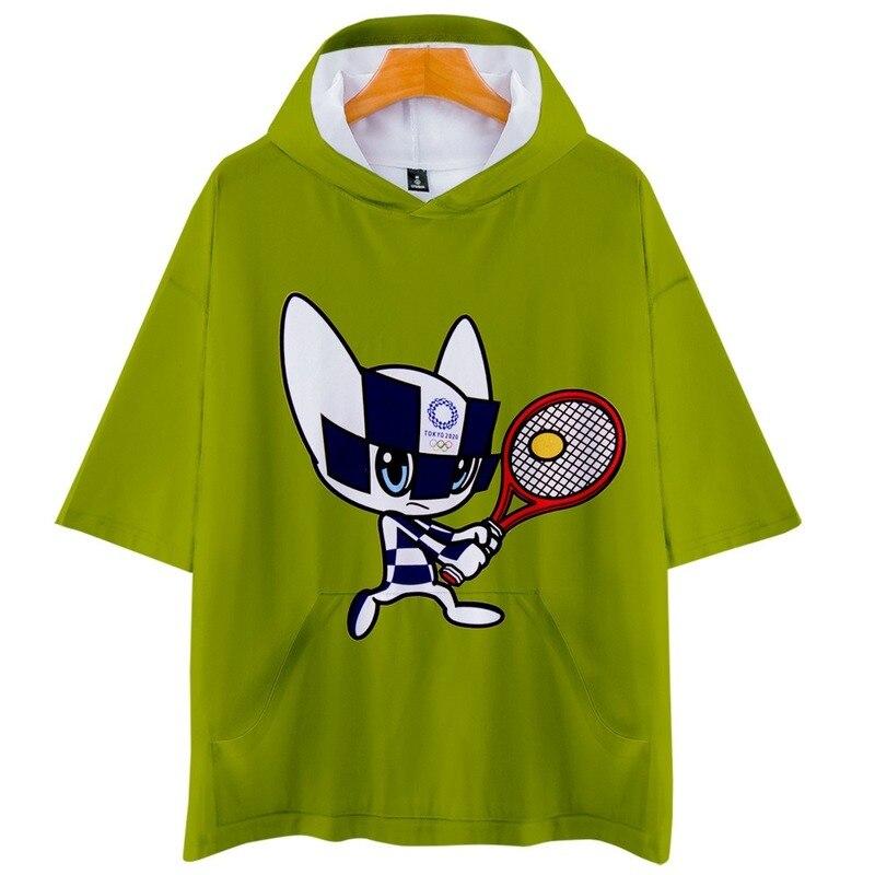Japón Tokio 2020 Juegos Olímpicos 3D color estampado personalidad tendencia hombres y mujeres suelta-Manga corta con capucha cosplay camiseta