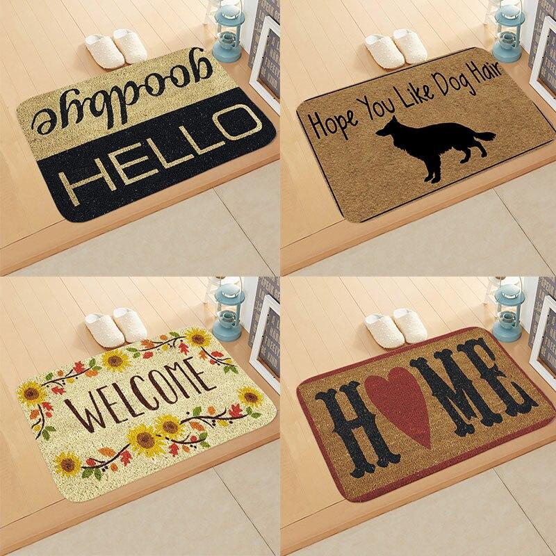 Флисовый коврик 40x60 см Добро пожаловать домой прямоугольник Противоскользящий ковер для спальни Входные Коврики цветочный Рисунок собаки буквы