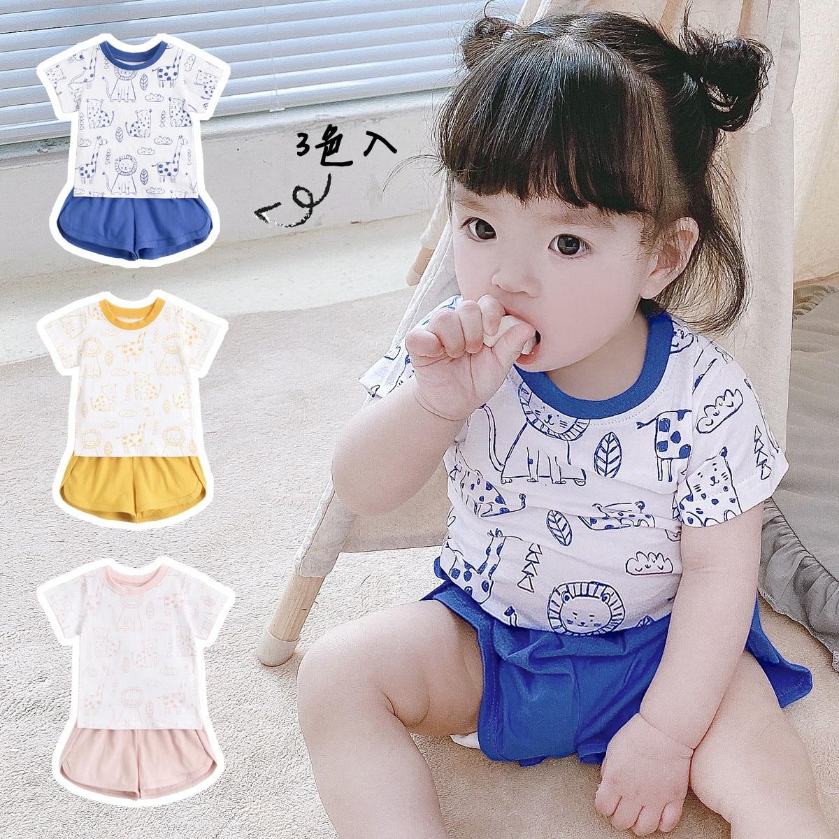 Yg brand new summer cartoon newborn short sleeve top baby shorts two piece baby cotton Korean childr