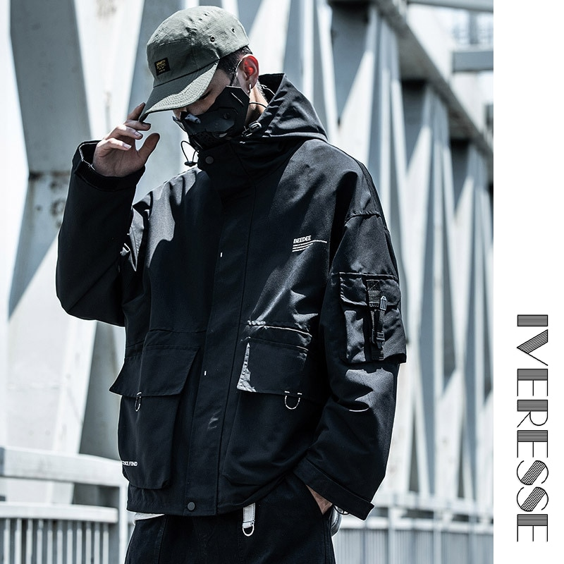 Con capucha carta Multi-bolsillo para los hombres táctico Hip Hop de carga Techwear chaquetas abrigos Streetwear chaqueta Bomber Casual prendas de vestir exteriores