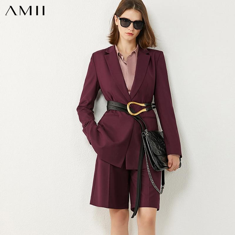 Amii Minimalism Spring Autumn Women Suit Fashion OLstyle Solid Lapel Blazer Women Causal High Waist Loose Female Pants  12040349