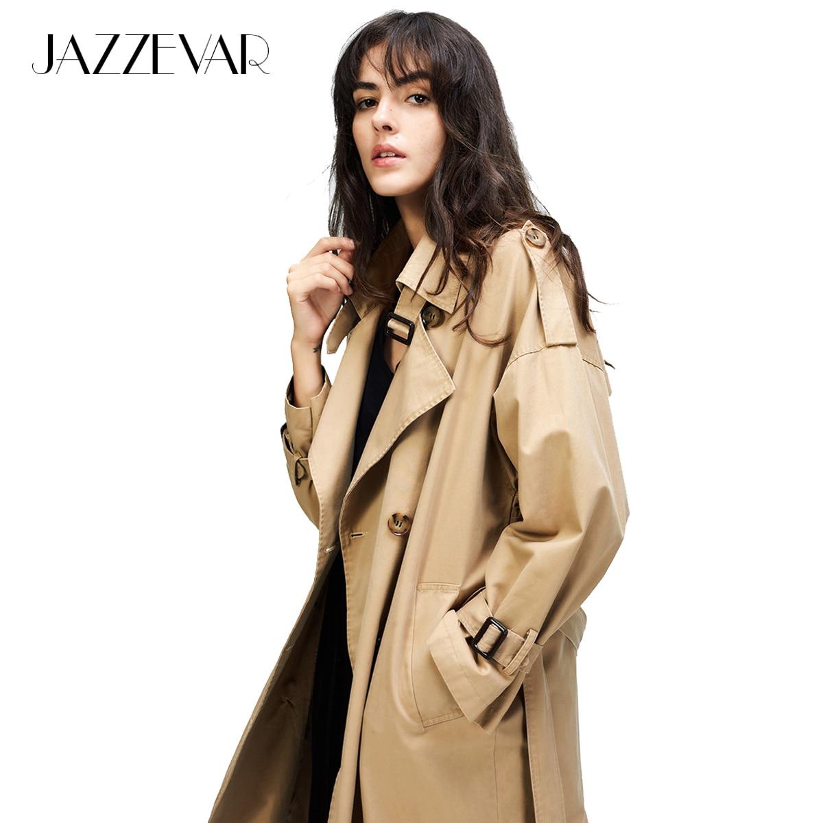 JAZZEVAR 2019 Herbst Neue frauen Casual graben mantel übergroßen Doppel Breasted Vintage Gewaschen Outwear Lose Kleidung